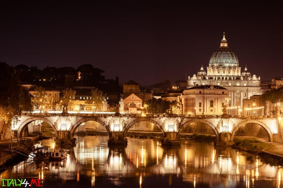 Ночной Ватикан в Риме фото