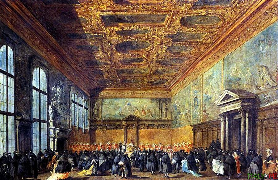 картина Франческо Гварди Аудиенция Дожа в зале совета во дворце Дожей