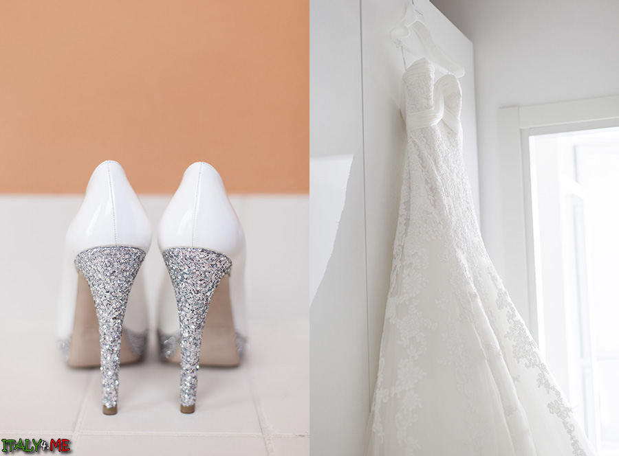 Итальянская свадьба платье Pronovias и туфли Miu Miu