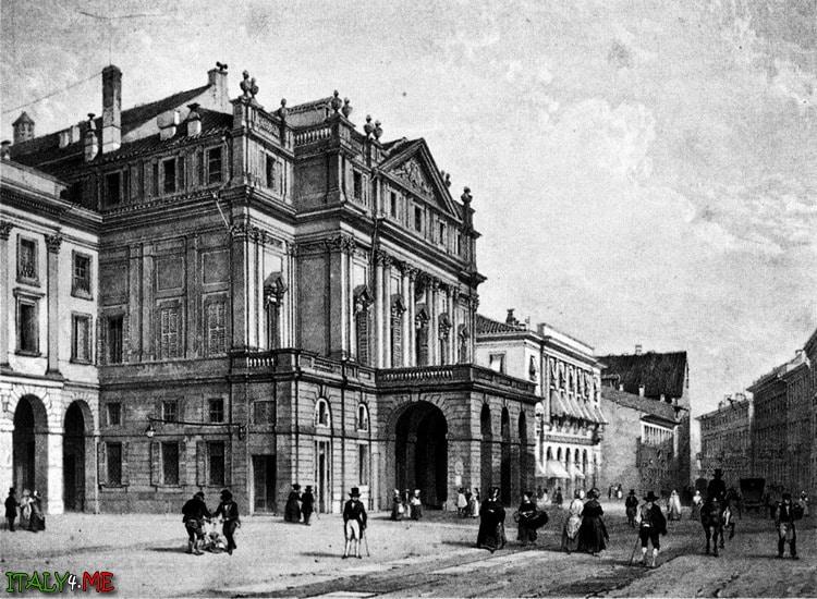 19 век площадь театра оперы и балета делла Скала в Милане