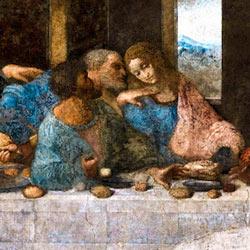 Где сидит Иуда на картине Тайная вечеря Леонардо да Винчи