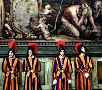 Костюмы швейцарских гвардейцев в Ватикане