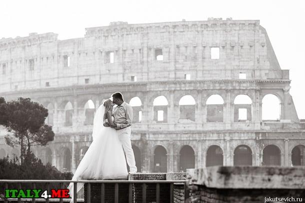 свадьба в Италии - фотосессия на фоне Колизея