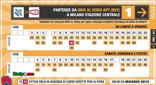 расписание автобус Бергамо