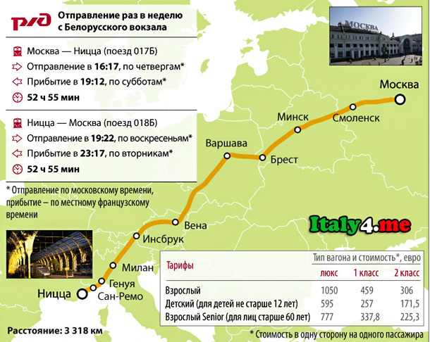 Москва Ницца поезд маршрут движения