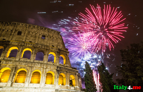 новый год салют Колизей Рим