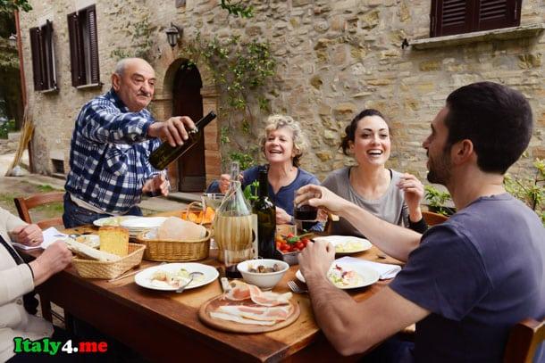 ужин в Италии с родителями