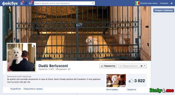 фейсбук страница собаки Берлускони