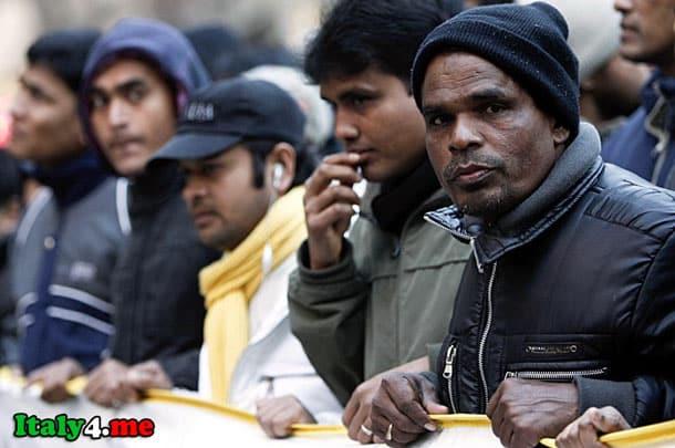 иммигранты на забастовке в Италии