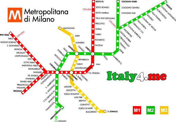 Милан метро схема план