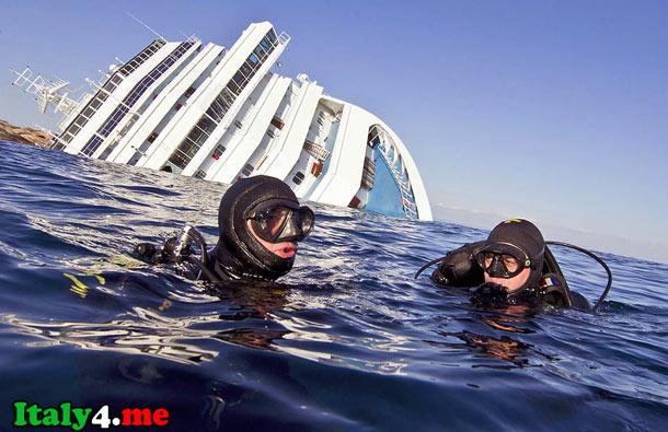 Водолазы и лайнер Коста Конкордия