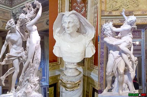 Мраморные скульптуры в Галерее Боргезе