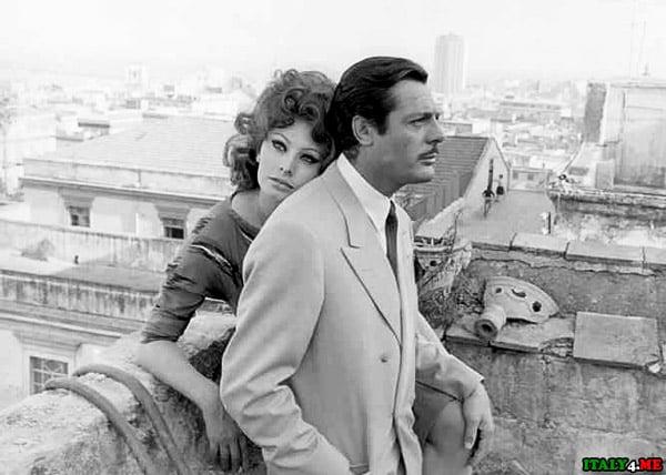 Софи Лорен и Мастроянни кадр из фильма Брак по-итальянски
