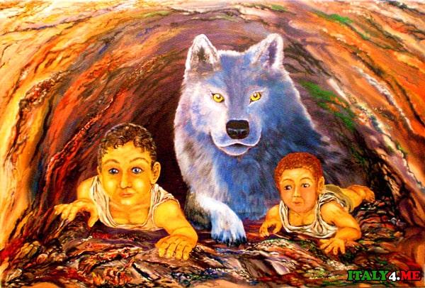 братья Ромул Рем и волчица