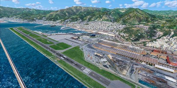 Международный аэропорт Генуя в Италии взлетно-посадочная полоса