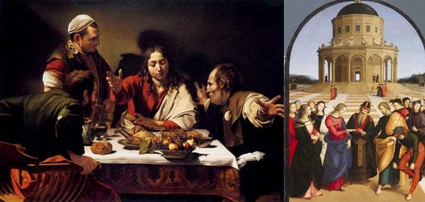 картина Рафаэля «Обручение девы Марии и «Ужин в Эммаусе» Караваджо