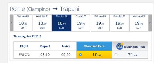 Билеты из Рим Чампино в Трапани Сицилия по 11 евро