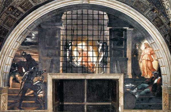 Фреска Изведение апостола Петра из темницы