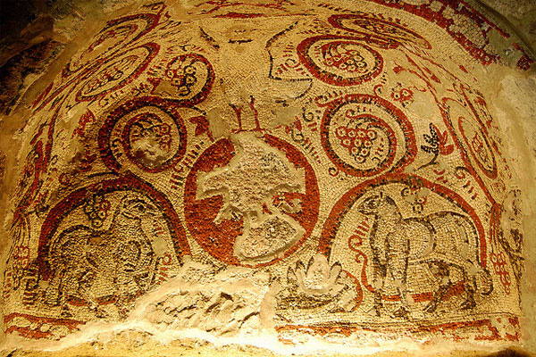 Катакомбы Сан-Гаудиозо - аллегорическая мозаика