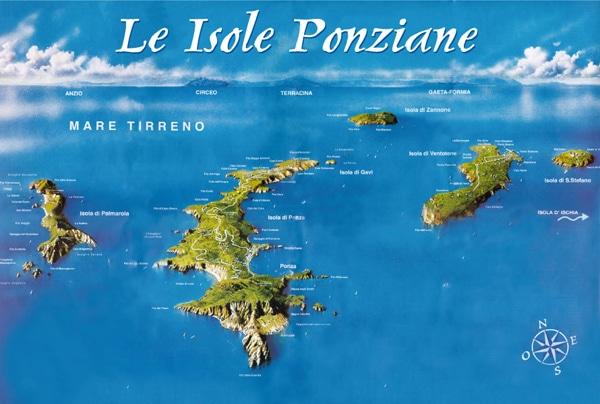 Пляжи Рима - карта Понцианских островов