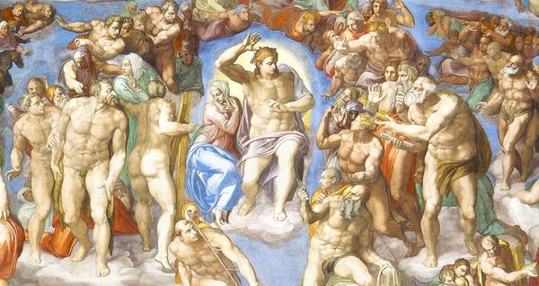 Сикстинская капелла в Ватикане - Страшный суд центральня часть