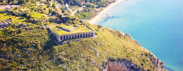 Храм Юпитера в Террачина вид с высоты птичьего полета
