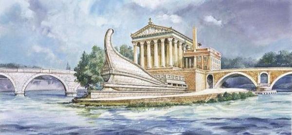 Остров Тиберина в Риме - Вид в древности