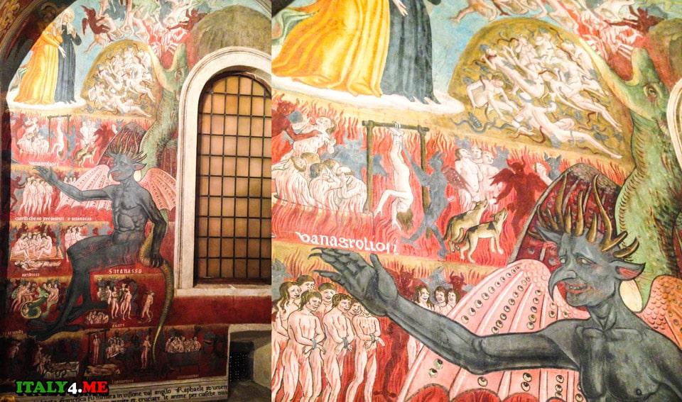 иллюстрации из видений Ада, где дьявол с множеством рогов и перепончатыми крыльями смеется над страданиями несчастных
