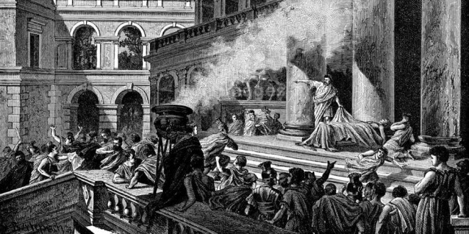 Mark Antony delivers funeral oration for Julius Caesar