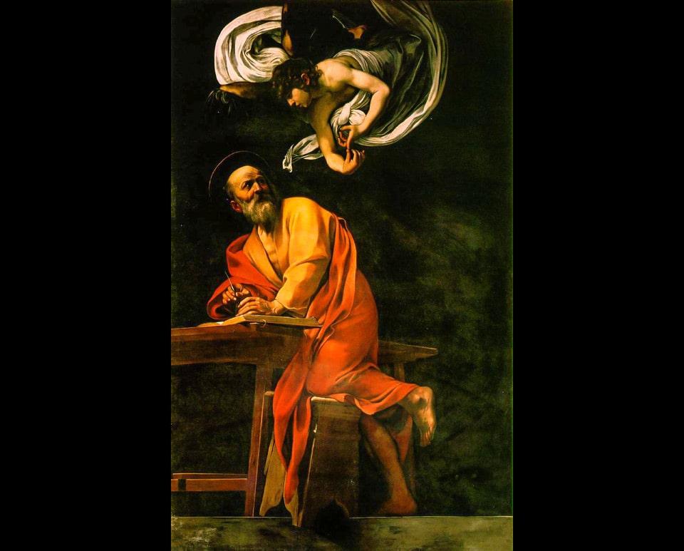 Святой Матфей и Ангел картина Караваджо в церкви Сан-Луиджи-дей-Франчези в Риме