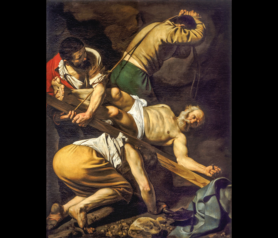 Распятие Святого Петра картина Караваджо в римской Базилике Санта-Мария-дель-Пополо