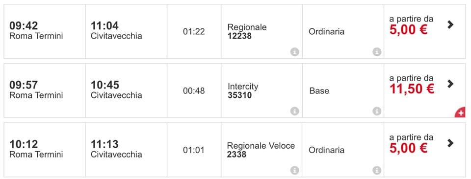Расписание поездов Рим Термини в порт Чивитавеккья