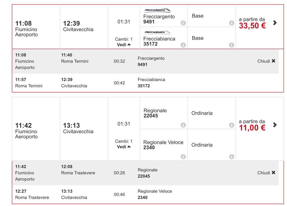 Расписание поездов из аэропорта Фьюмичино в порт Чивитавеккья