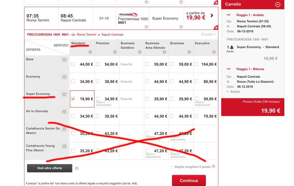 Выбор билета на поезд на сайте Трениталия