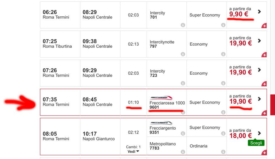 расписание поездов на сайте Трениталия