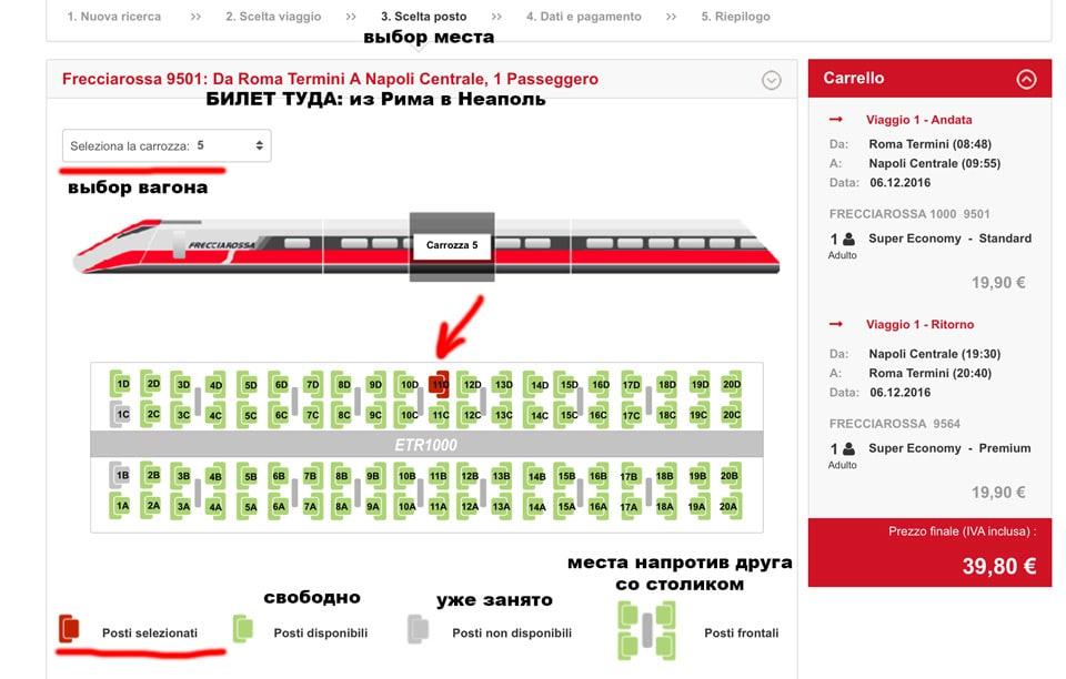 Расположение мест в вагоне поезда Трениталия