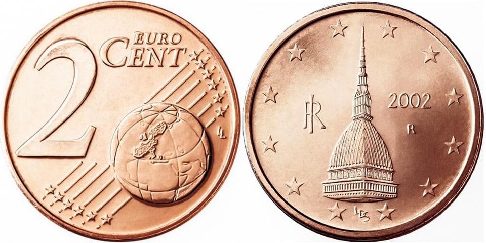 Башня Моле Антонеллиана в Турине изображена на монете 2 цента