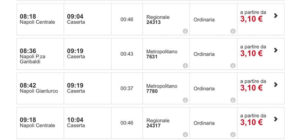 Расписание поездов из Неаполя в Казерту цены на билеты
