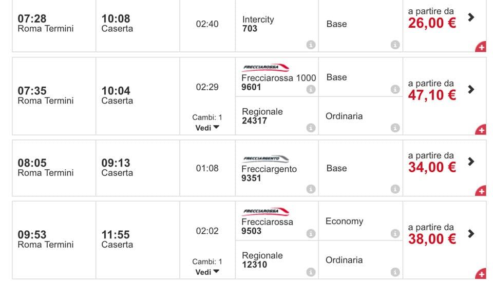 Расписание поездов из Рима вокзал Термини в Казерту цены билеты