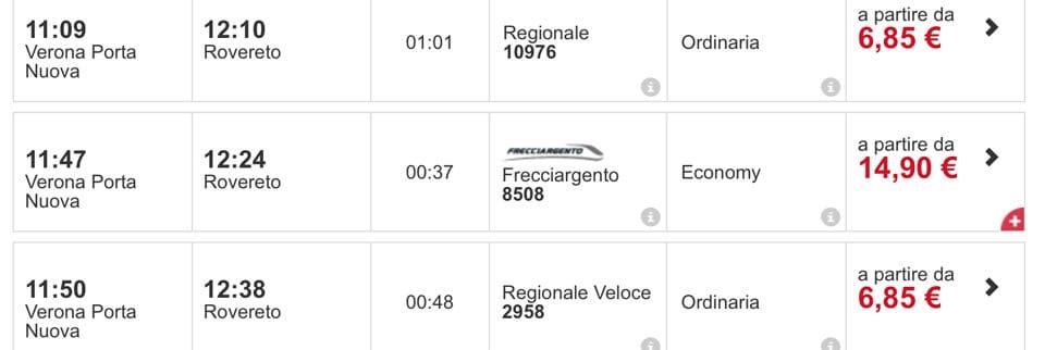 расписание поездов в Роверето из Вероны