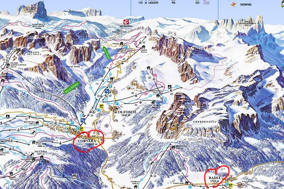Схема трасс горнолыжный курорт Корвара в Италии
