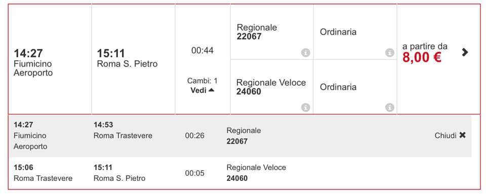 Расписание поезда из аэропорта Фьюмичино до Ватикана
