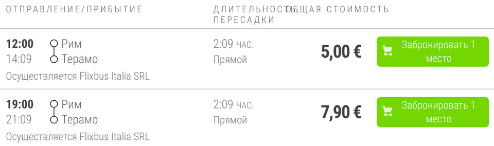 Расписание, стоимость билетов из Рима в Терамо