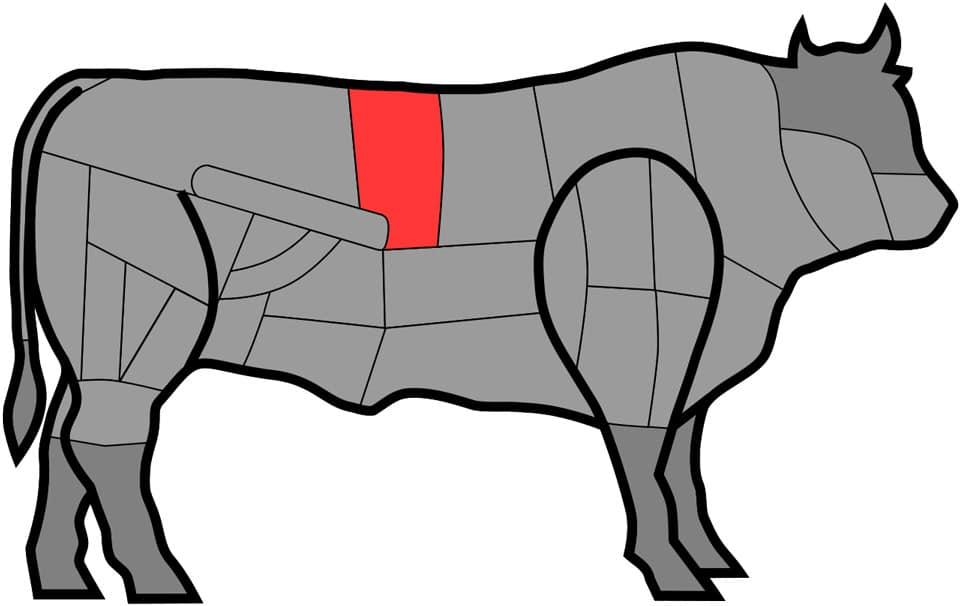 Филейная часть туши тосканских белоснежных коров породы Кьянина