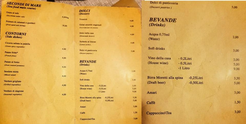 Меню ресторана Impiccetta в Риме стоимость напитков