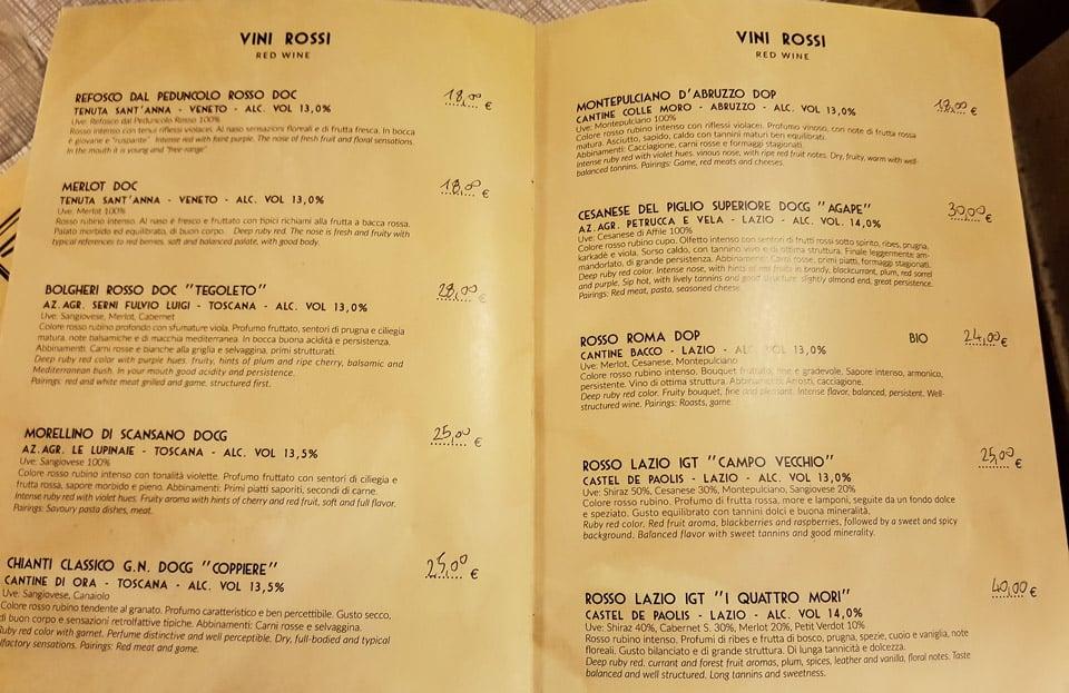 карта красных вин в ресторане Impiccetta