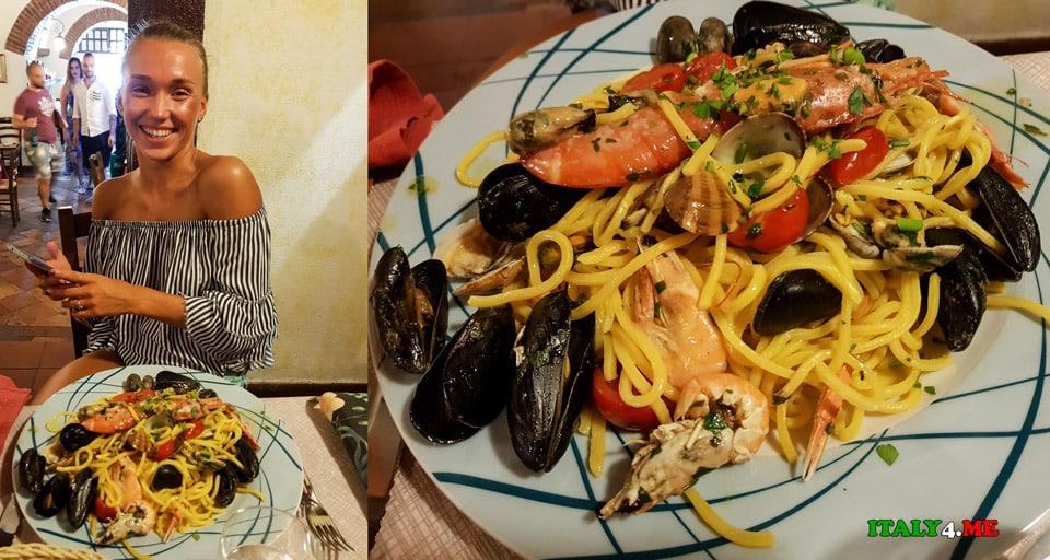 Паста с морепродуктами в ресторане Impiccetta в Риме