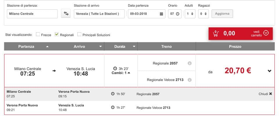 Расписание региональных поездов из Милана в Венецию с пересадкой в Вероне