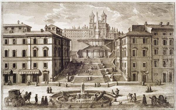 Строительство испанской лестницы в Риме