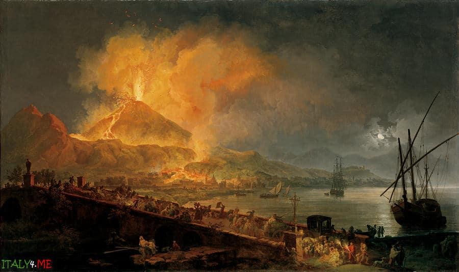 Картина Извержение Везувия художник Пьер Жак Волар 1777